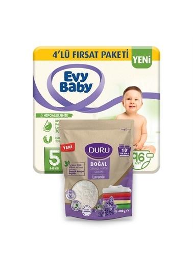 Evy Baby Evy Baby 5 Beden Junior 4'Lü Fırsat Paketi 96 Adet Bebek Bezi Hediyeli 400 Gr Granül Sabun Renkli